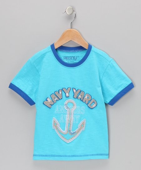 Light Blue 'Navy Yard' Slub Jersey Tee - Boys