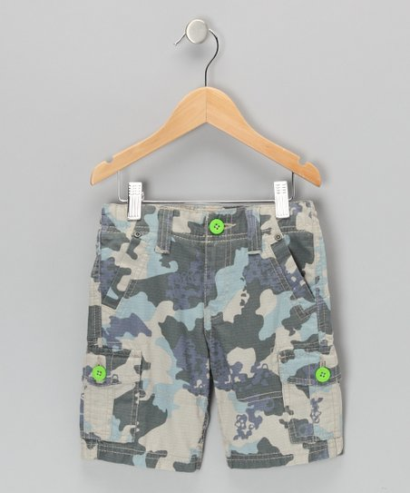 Blue Camo Cargo Shorts - Boys