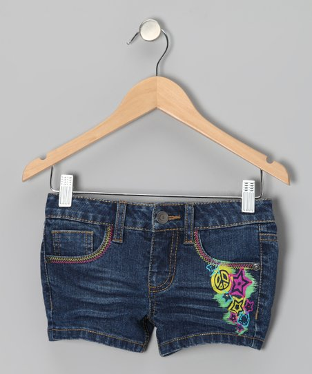 Dark Wash Lexi Painted Shorts - Toddler & Girls