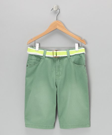 Hunter Green Andrian Twill Shorts - Boys