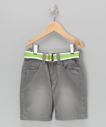 Steel Gray Andrian Twill Shorts - Boys