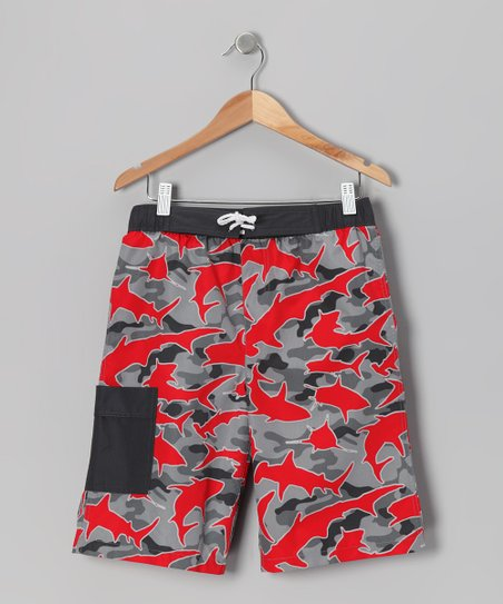 Red & Black Shark Camo Boardshorts - Boys