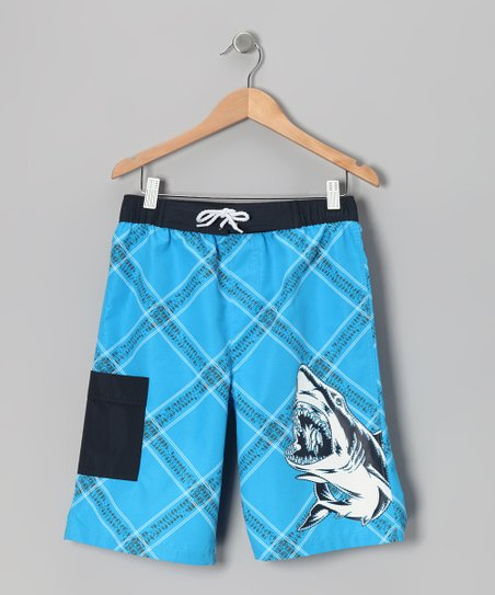 Blue Shark Plaid Boardshorts - Boys