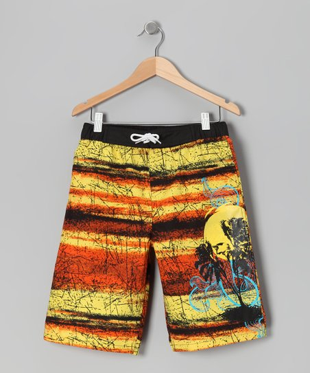 Yellow & Black Sunset Boardshorts - Boys