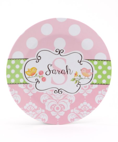 Pink & Green Birdie Personalized Plate