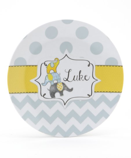 Yellow & Gray Elephant Personalized Plate