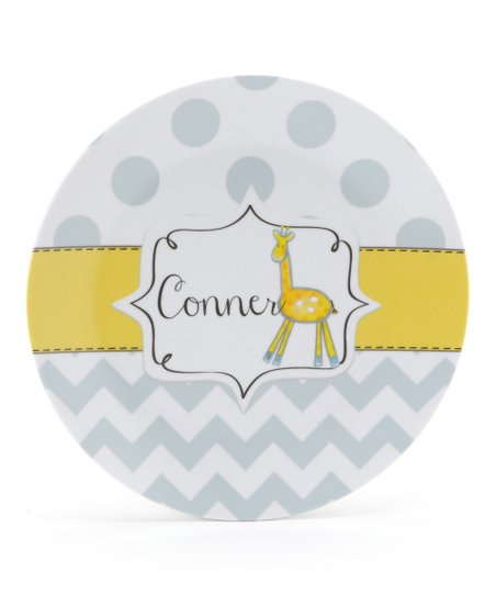 Yellow & Gray Giraffe Personalized Plate