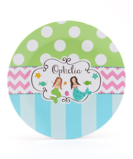 Lime Mermaid Personalized Plate