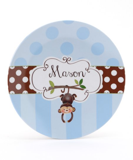 Blue &amp; Brown Monkey Personalized Plate