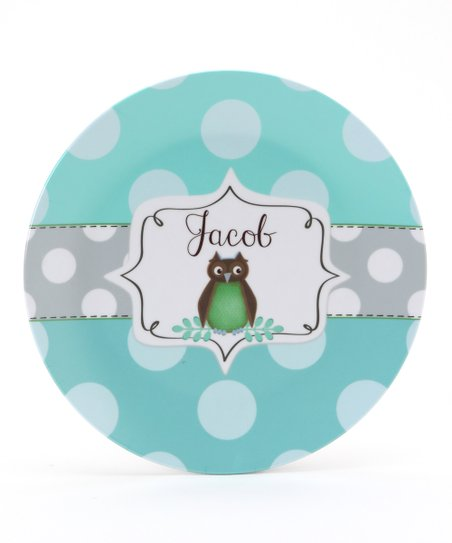 Aqua & Brown Owl Personalized Plate