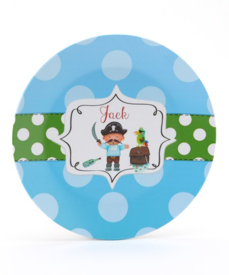 Blue & Green Pirate Personalized Plate