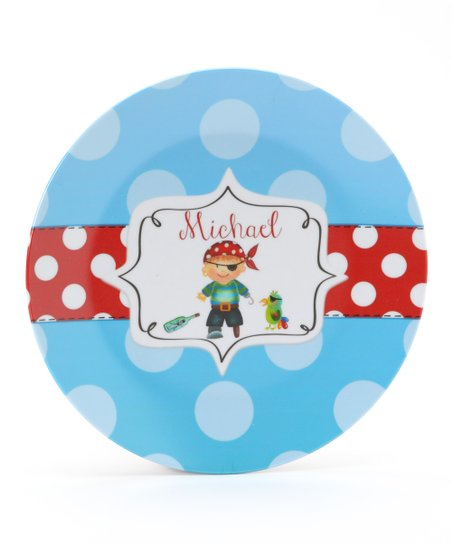 Blue &amp; Red Pirate Personalized Plate