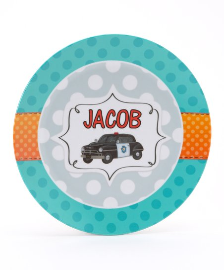 Teal Retro Police Personalized Plate