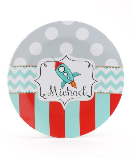 Aqua & Red Rocket Personalized Plate