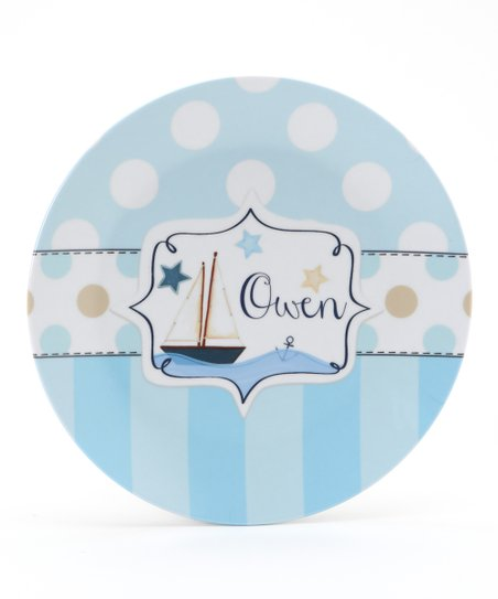Blue & Tan Sailboat Personalized Plate