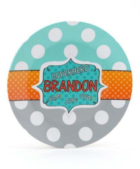 Aqua Superhero Personalized Plate