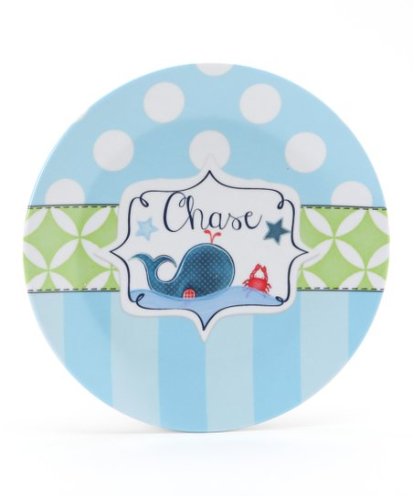 Blue & Green Whale Personalized Plate