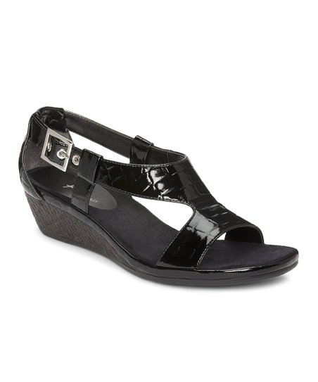 Black Crocodile Crown Chewls Wedge Sandal
