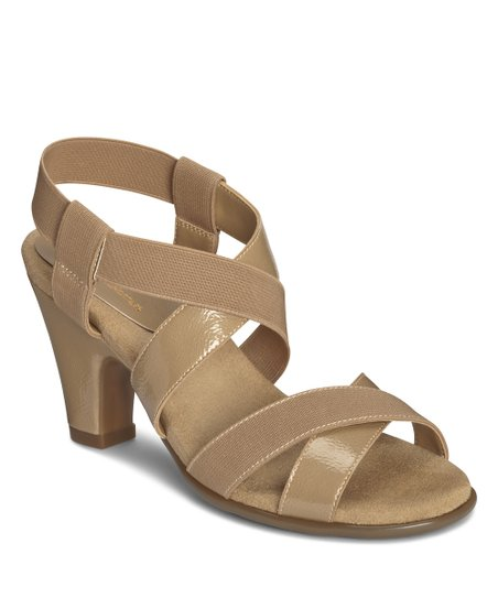 Tan Patent Kaleidescope Sandal