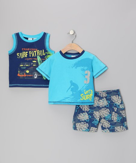 Blue 'Surf Patrol' Tank Set - Toddler