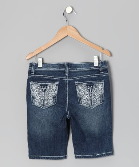 Medium Wash Butterfly Bermuda Shorts
