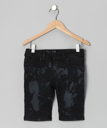Dark Wash Splatter Bermuda Shorts