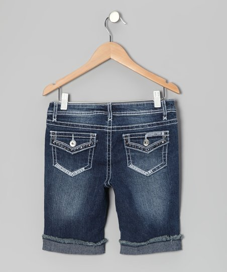 Medium Wash Flap Pocket Bermuda Shorts