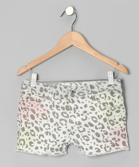 White &amp; Gray Cheetah Shorts