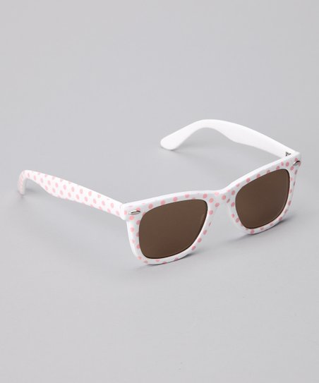Pink &amp; White Polka Dot Sunglasses
