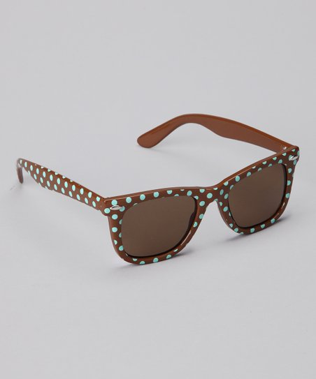 Mint Green & Brown Polka Dot Sunglasses