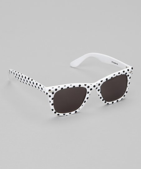 White & Black Polka Dot Sunglasses