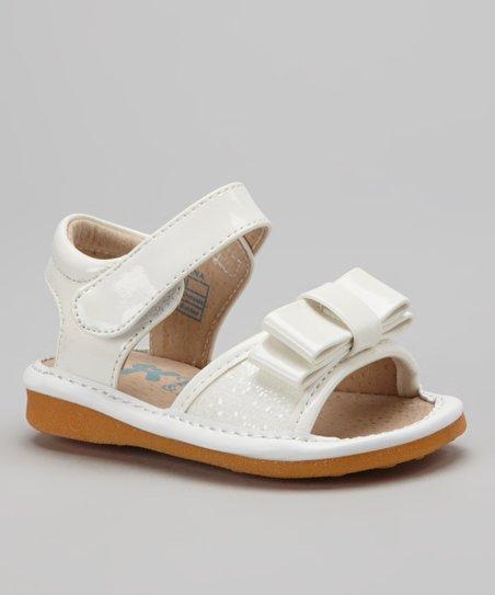 White Sparkle Bow Squeaker Sandal