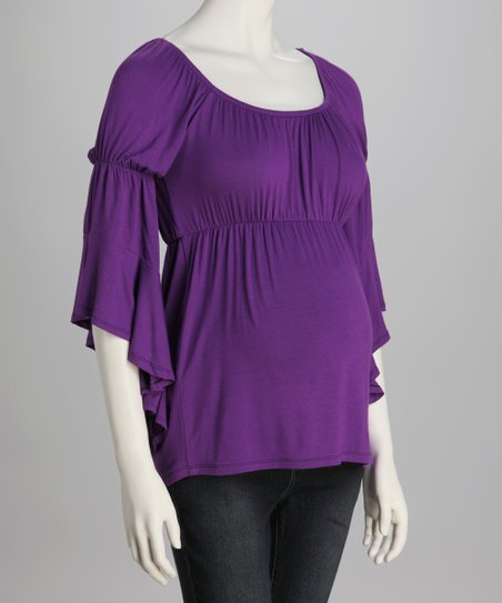 Purple Bell-Sleeve Maternity Top