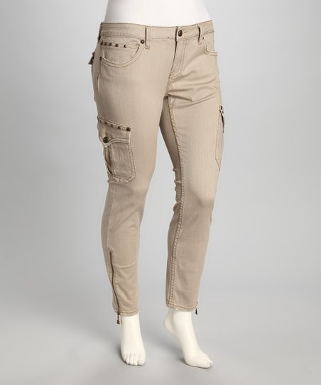Khaki Cargo Plus-Size Cropped Pants