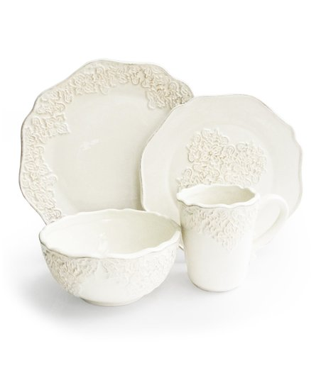 White Bianca Medallion 15-Piece Dinnerware Set