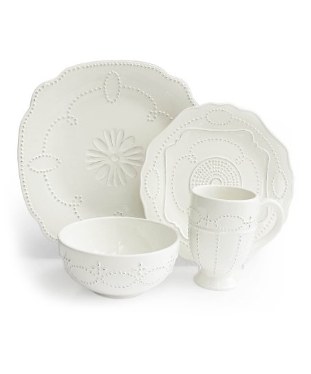 White Gabrielle Scallop 16-Piece Dinnerware Set