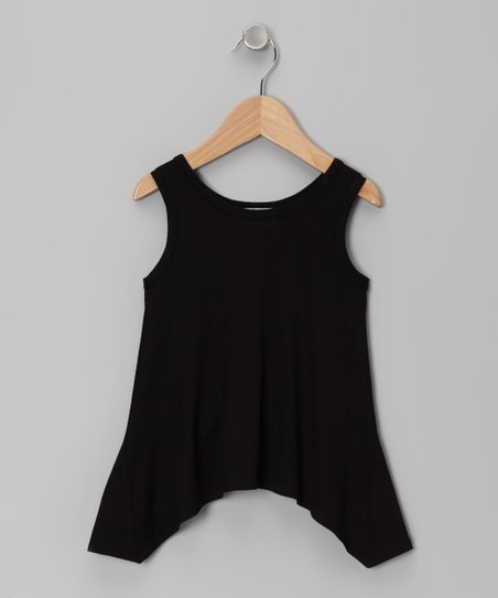 Black Sidetail Tank - Toddler & Girls