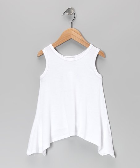 White Sidetail Tank - Toddler & Girls