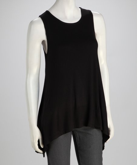 Black Sidetail Tank - Women