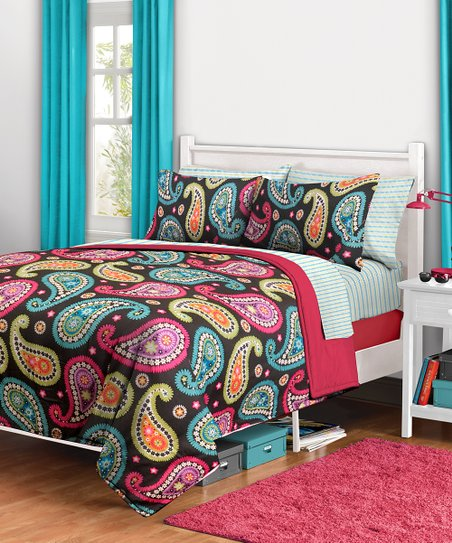 Neon Paisley Bedding Set