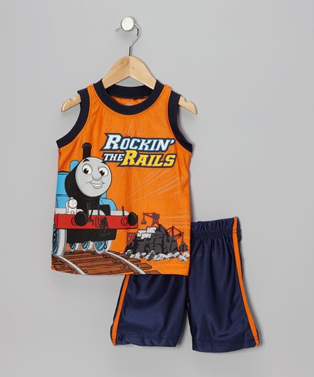 Orange 'Rockin' the Rails' Thomas Tank & Blue Shorts - Toddler