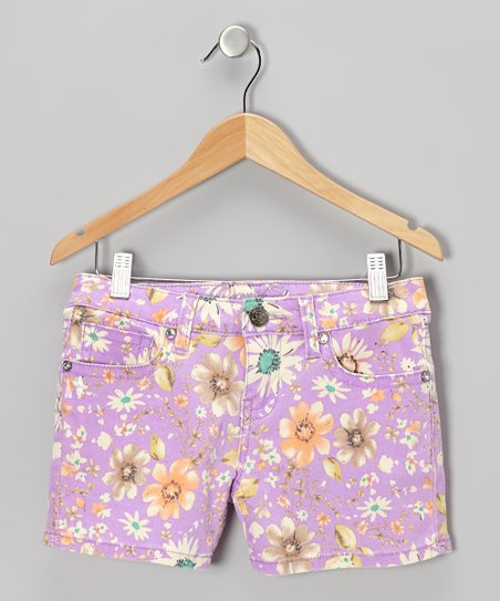 Magenta Daisy Shorts - Girls