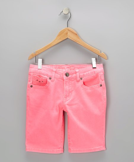Neon Pink Bermuda Shorts - Girls
