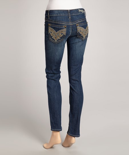 Dark Blue Villanova Straight-Leg Jeans