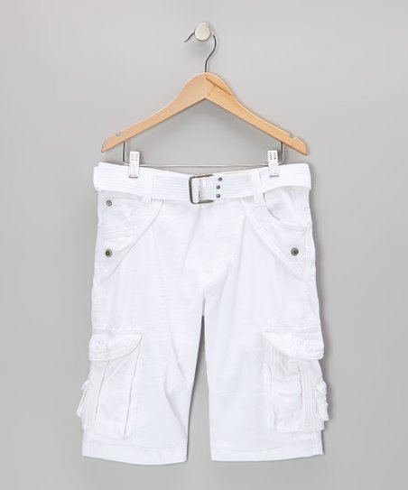 White Jonah Cargo Shorts - Boys