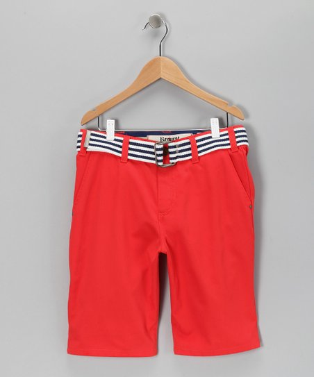 Bright Red Belted Chino Shorts - Boys