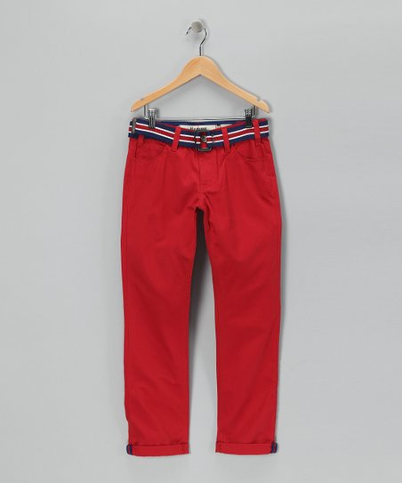 Red Belted Chino Pants - Boys