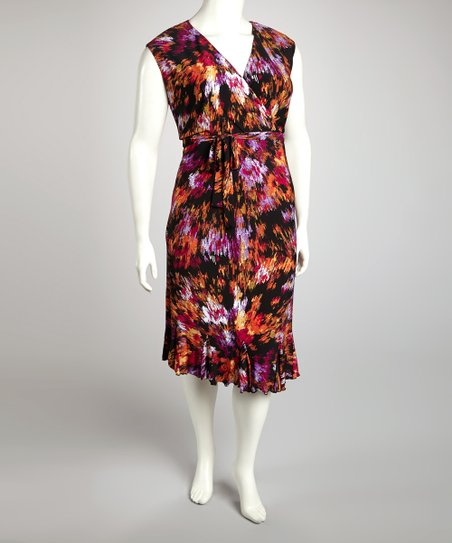 Rust & Fuchsia Abstract Tie-Waist Surplice Dress - Plus