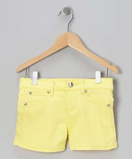 Banana Yellow Rhinestone Shorts