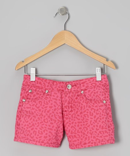 Hot Pink Tone on Tone Leopard Shorts